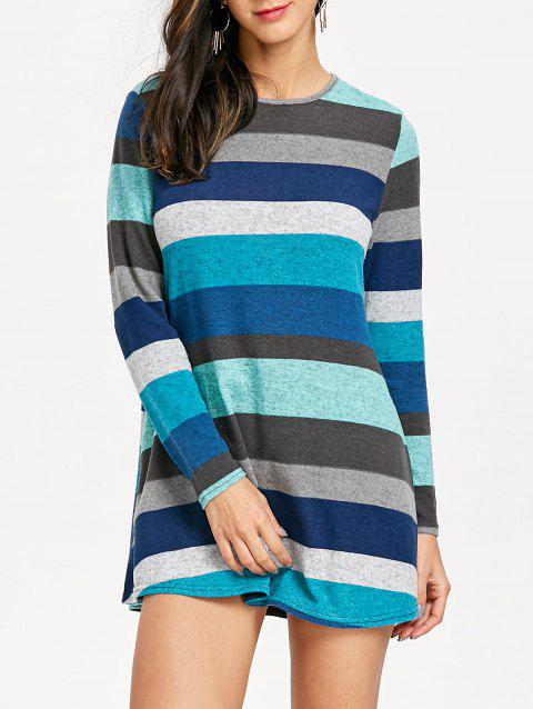 Long Sleeve Striped Knitted Mini Dress - COLORMIX M