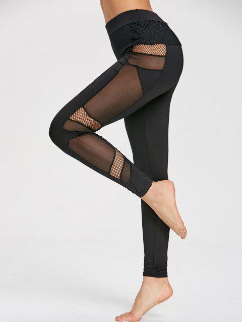 High Rise Mesh Insert Leggings - BLACK XL