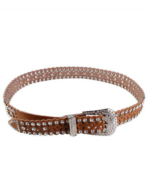 Rhinestone Hollow Out Decorated Faux Leather Waist Belt - BROWN