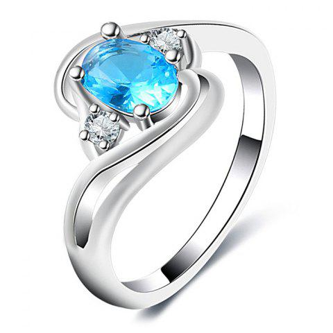 Faux Aquamarine Oval Simple Finger Ring - SILVER 7
