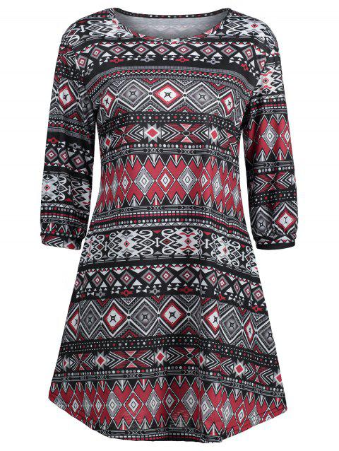 Mini Tribal Print Swing Dress - multicolor XL