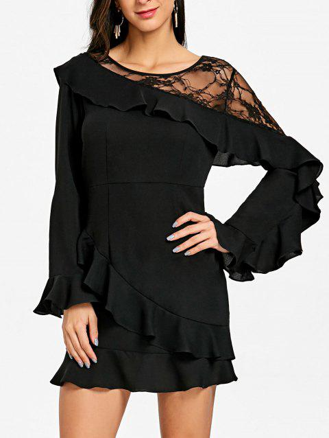 Lace Panel Flounce Long Sleeve Dress - BLACK 2XL
