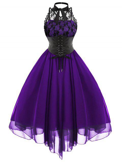 a4ae9299e93 41% OFF  2019 Lace Panel Cross Back Gothic Corset Dress In PURPLE ...
