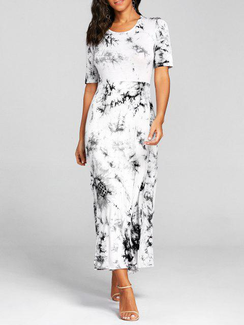 High Split Tie Dye Midi Dress - GRAY M