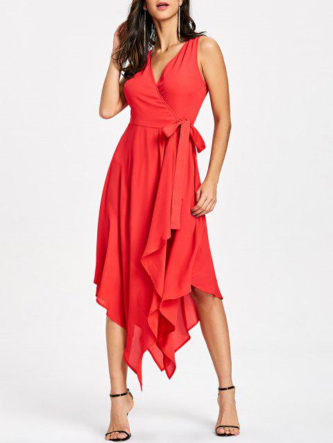 Sleeveless Flowy Handkerchief Hem Dress - RED M