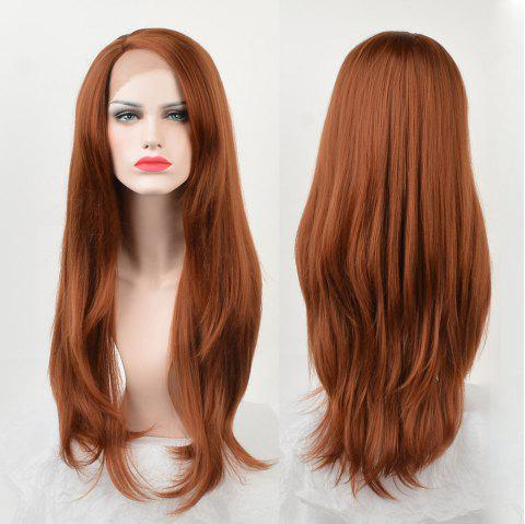 Long Side Parting Synthetic Layered Straight Lace Front Wig - LIGHT BROWN