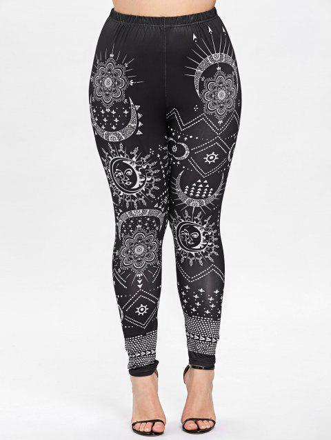 Plus Size Ethnic Monochrome Leggings - BLACK 2XL