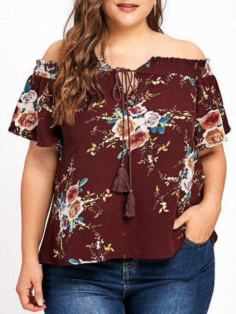 Plus Size Off The Shoulder Floral Bohemian Blouse - DARK RED 5XL