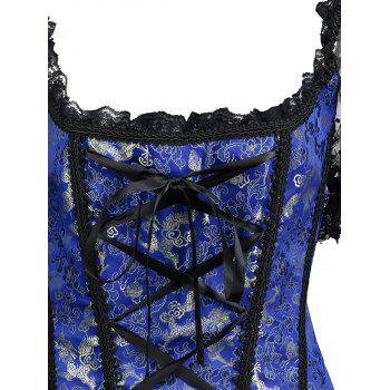 Off-The-Shoulder Mesh Lace-Up Corset Top With Sleeve - DEEP BLUE S