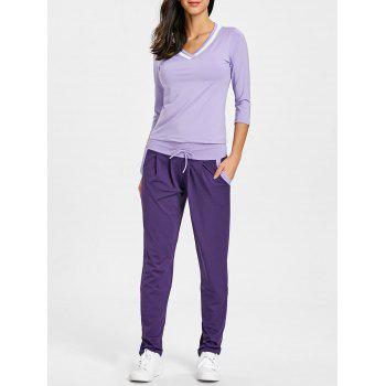 V Neck T-shirt and Drawstring Workout Pants - PURPLE PURPLE