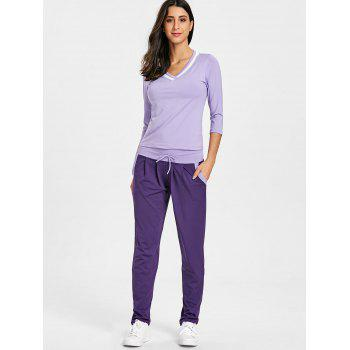 V Neck T-shirt and Drawstring Workout Pants - PURPLE XL