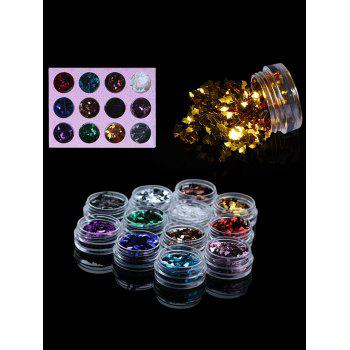 12 Colors 3D Rhombus Shape Nail Art Glitter Acrylic Sequins Powder - multicolor