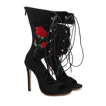 Rose Embroidery Mid-calf Boots - BLACK 38