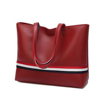 Striped 2 Pieces PU Leather Shoulder Bag Set -  RED
