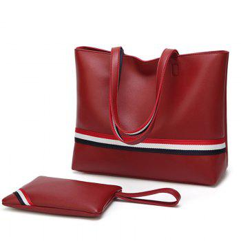 Striped 2 Pieces PU Leather Shoulder Bag Set - RED RED