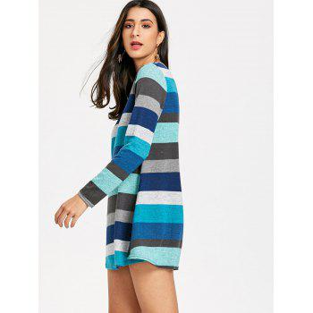 Long Sleeve Striped Knitted Mini Dress - COLORMIX L
