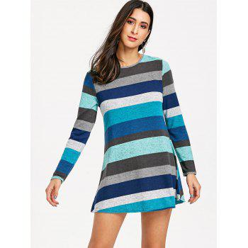 Long Sleeve Striped Knitted Mini Dress - COLORMIX XL