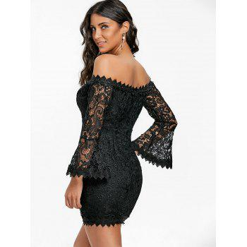 Lace Off The Shoulder Mini Dress - BLACK M