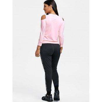 Graphic Cold Shoulder Three Piece Sweat Suits - PINK XL