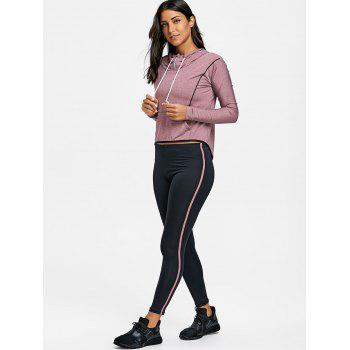 High Low Hooded Three Piece Sweat Suits - PURPLISH RED XL