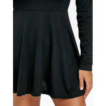 Long Sleeve Skater Mini Dress - BLACK S