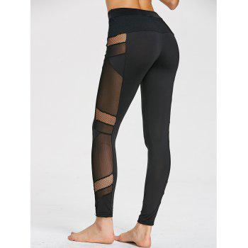High Waist Mesh Insert Gym Leggings - BLACK BLACK