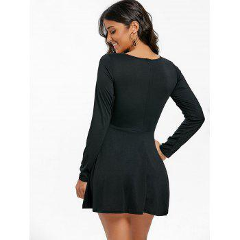 Long Sleeve Skater Mini Dress - BLACK L