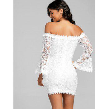 Lace Off The Shoulder Mini Dress - WHITE S