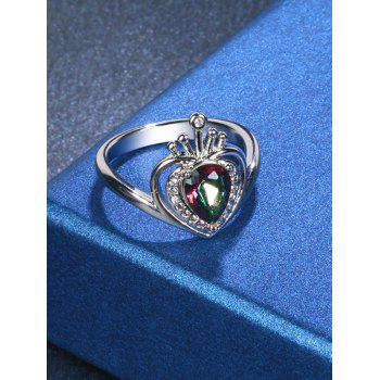 Rhinestone Valentine's Day Heart Finger Ring - SILVER 7