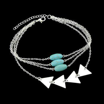Layered Faux Turquoise Triangle Chain Bracelet - SILVER
