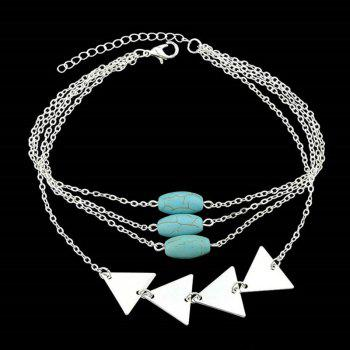 Layered Faux Turquoise Triangle Chain Bracelet - SILVER SILVER