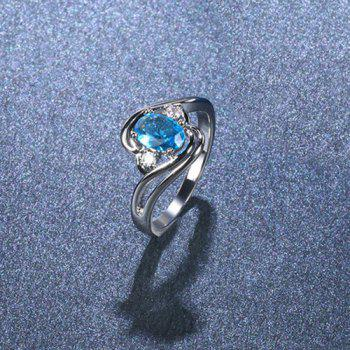 Faux Aquamarine Oval Simple Finger Ring - SILVER SILVER