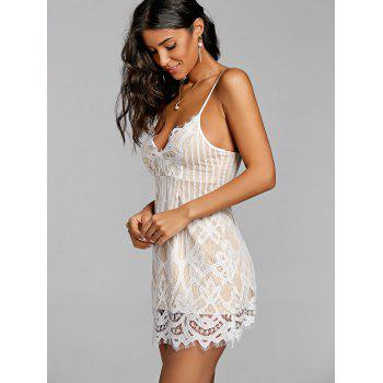 Eyelash Lace Nude Lining Sundress - WHITE L