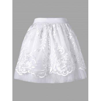 High Waisted LED Light Up Mini Skirt - WHITE L