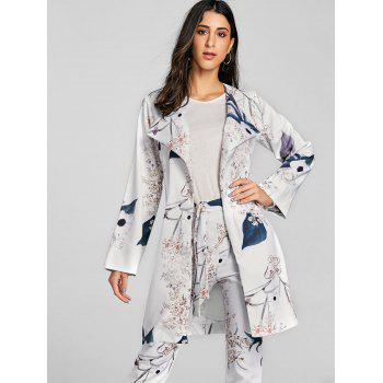 Open Front Floral Print Coat - LIGHT GRAY L