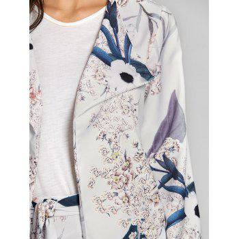 Open Front Floral Print Coat - LIGHT GRAY XL