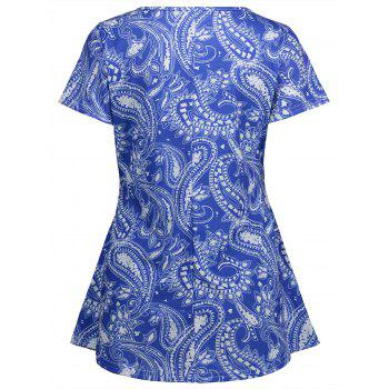 Cashew Print Tunic Swing Tee - BLUE XL