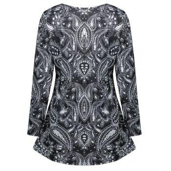Cashew Print Long Sleeve Tunic T-shirt - BLACK XL