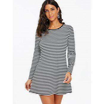 Striped Mini T-shirt Dress - BLACK WHITE S