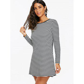 Striped Mini T-shirt Dress - BLACK WHITE M