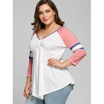 Plus Size Empire Waist Tunic T-shirt - PINK 5XL