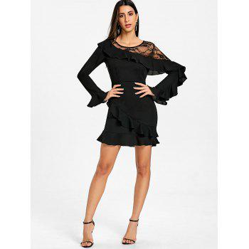Lace Panel Flounce Long Sleeve Dress - BLACK L