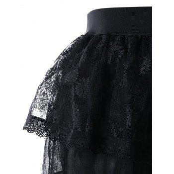 Layered High Low Ball Gown Skirt - BLACK M