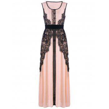 Lace Insert Maxi Prom Dress - PINK L