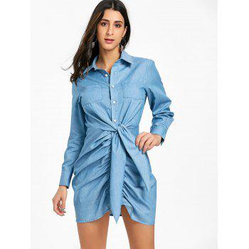 Ruched Front Tie Chambray Mini Dress - LIGHT BLUE M