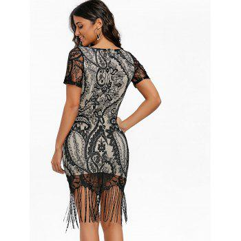 Fringed Bodycon Midi Dress - BLACK S