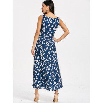 Flower Print Sleeveless Slit Flowy Dress - PURPLISH BLUE 2XL