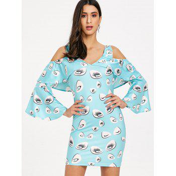 Eye Print Bell Sleeve Cold Shoulder Dress - LIGHT BLUE M