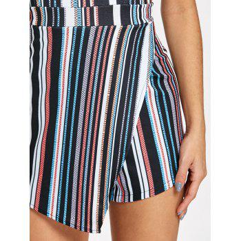 Padded Striped Asymmetrical Bandeau Romper - COLORMIX M