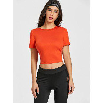 Sports Back Wrap Cropped T-shirt - RED ORANGE L